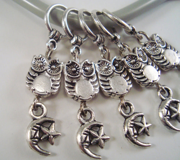 Halloween Special! Owl and Moon Knitting Stitch Markers Set of 5/SM186