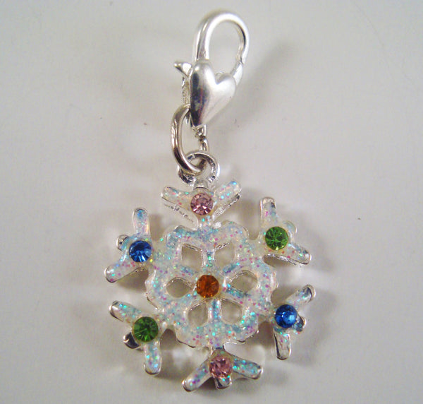 Snowflake Progress Keeper Clip Enameled Rainbow Rhinestone Single /SM200A
