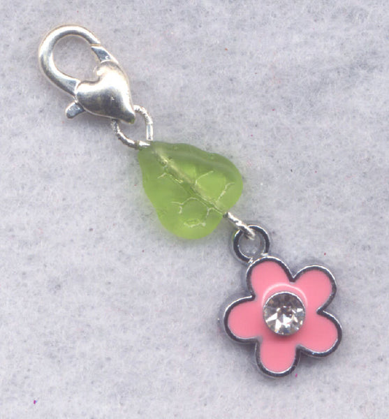 Pink Flower Stitch Marker Clip Single /SM208A