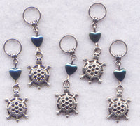 Turtle Knitting Stitch Markers Turtles Tortoise Box Snapping Painted Set of 5 /SM219