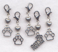 Cat Stitch Markers Crochet Clip Paw Print Love My Cat  Set of 5/SM231