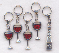 Wine Glasses Knitting Stitch Markers Fruit of The Vine Set of 5/SM104A