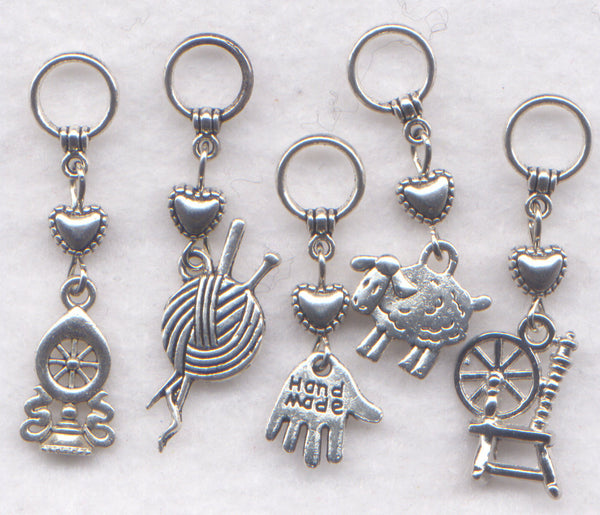 Spinning Wheel Knitting Stitch Markers Hand Spinner Set of 5/SM98