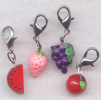 Fruit Stitch Marker Clips Grapes Watermelon Apple Strawberry Set of 4 /SM232