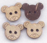 Bear Buttons Coconut Wood Teddy Bears Wooden 15mm (5/8 inch) Set of 12 /BT50B
