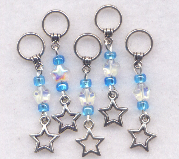Blue Stars Knitting Stitch Markers No-snag AB Crystal Stars Set of 5/SM63A