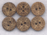 Coconut Wood Buttons Flower Decorated Wooden Buttons 15mm (5/8 inch) Set of 8 /BT256