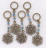 Snowflake Knitting Stitch Markers Snowflakes Snow Sparkle Blue Set of 5 /SM09B