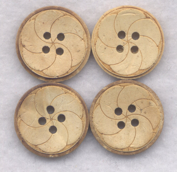 Coconut Wood Buttons Decorated Wooden Buttons 19mm (3/4 inch) Set of 8 /BT396
