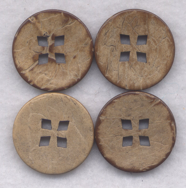 Coconut Wood Buttons Decorated Wooden Buttons 24mm (1 inch) Set of 8 /BT395