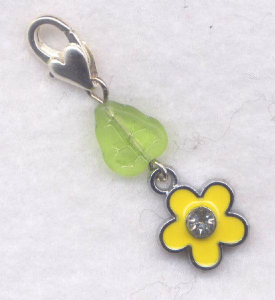 Yellow Flower Progress Keeper Clip Enameled Crystal Rhinestone Single /SM208C