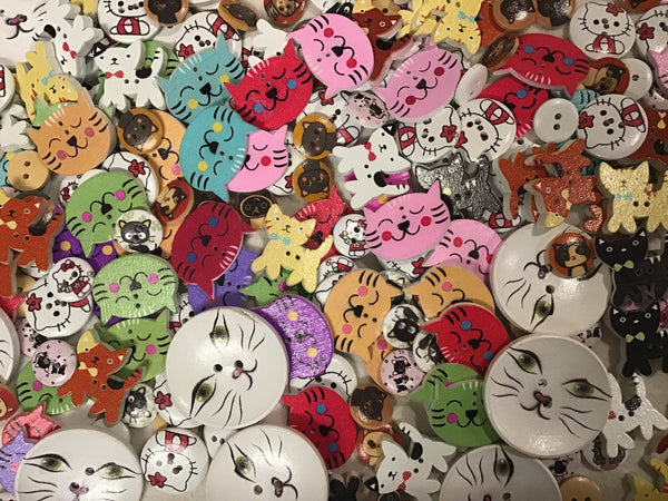 All Cats Mix Assortment Wood Buttons BK12