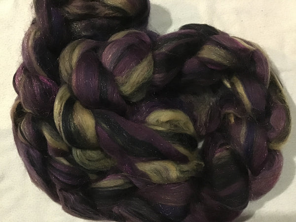 Purple Rain Fantasy Mixed Wool roving 4 ounces B011