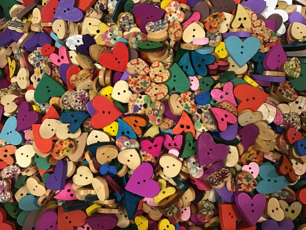 Heart Shape Wood Assortment Buttons BK03