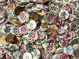 White Spring Flowers Assortment Wood Buttons BK19