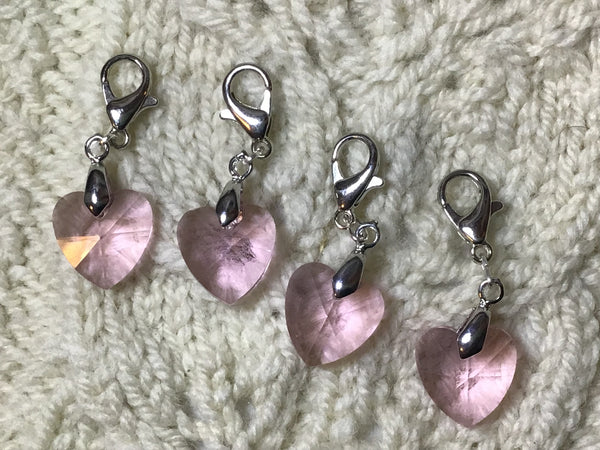 Radiant Crystal Pink Hearts Progress Keeper Clips each /SM398