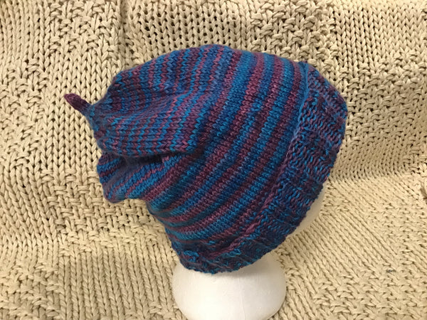 "Purple and Blue ""Puffy"" Slouch Hat Fun to Wear Easy Care CT02"