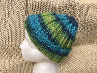 Touque Ribbed beanie Hat Hand Knit One Size Blue Lime CT0012