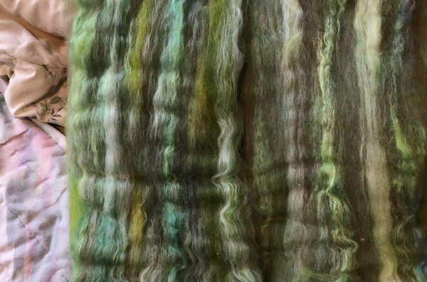 Forest Floor Mixed Wool Alpaca Silk Batts approx 3.8 ounces