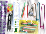 Knitting Notions Kit in Zippered Pouch Cable Needles Snips Stitch Holders Darning Needles