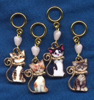 Oh Kittens! Knitting Stitch Markers Enameled Adorable Set of 4/SM97