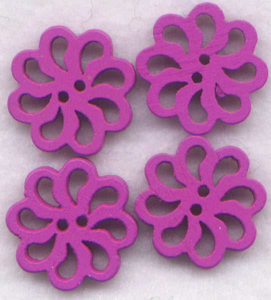 Mauve Lace Flower Buttons Laser Cut Wooden Buttons 20mm (7/8 inch) Set of 8 /BT131M