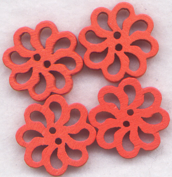 Orange Lace Flower Buttons Laser Cut Wooden Buttons 20mm (7/8 inch) Set of 8 /BT127OR