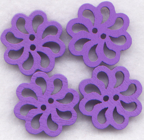 Purple Lace Flower Buttons Laser Cut Wooden Buttons 20mm (7/8 inch) Set of 8 /BT131PR