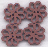 Brown Lace Flower Buttons Laser Cut Wooden  20mm (7/8 inch) Set of 8 /BT131BR