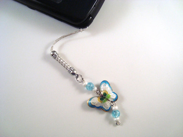 Light Blue Butterfly Cloisonne Cellphone Charm CH007 lanyard charm
