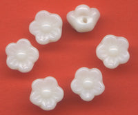 White Glass Flower Buttons 9 mm (3/8 inch) Set of 12/Mini11D