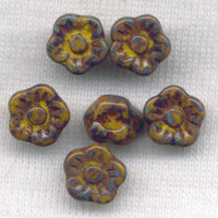 Yellow Green Glass Flower Buttons 9 mm (3/8 inch) Set of 6 /Mini11C