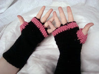 Fingerless Musicians Gloves Dragon Blood Black and Pink One Size Easy Care FG004