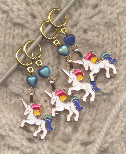 White Unicorn Stitch Markers White Unicorns Set of 4/SM276