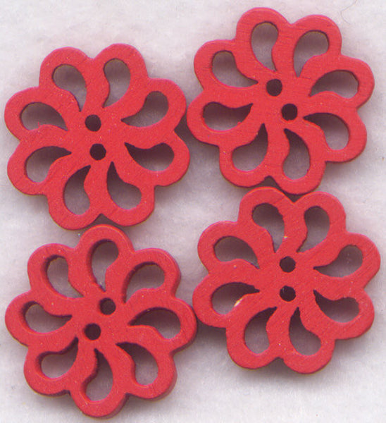 Red Lace Flower Buttons Laser Cut Wooden Buttons 20mm (7/8 inch) Set of 8 /BT129