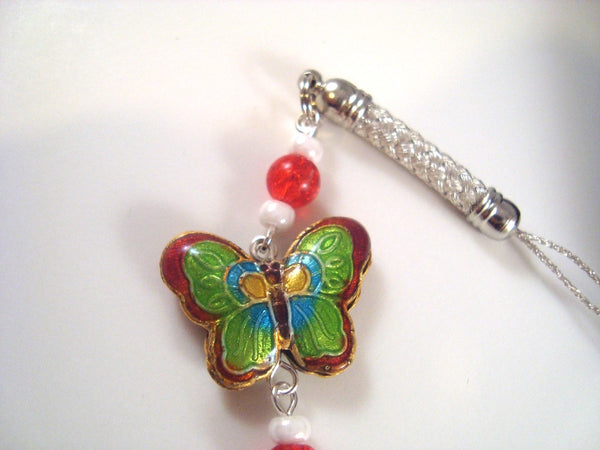 Red Butterfly Cloisonne Cellphone Charm CH005