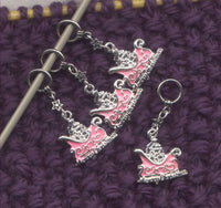 Santa's Sleigh Knitting Stitch Markers Jolly Old St Nick Xmas Set of 4 /SM107