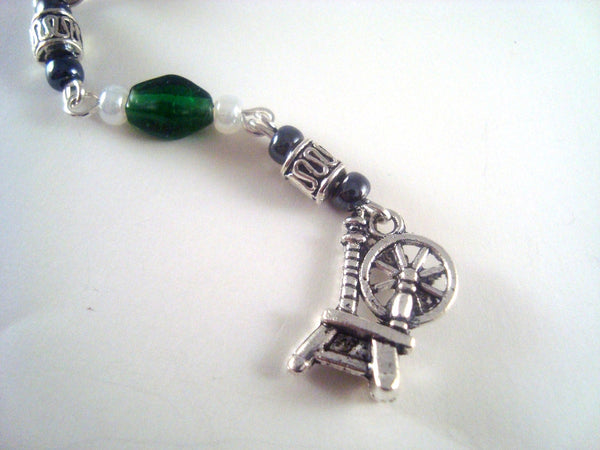 Green Spinning Wheel Cellphone Charm CH037 Green Spinning wheel cell phone charm