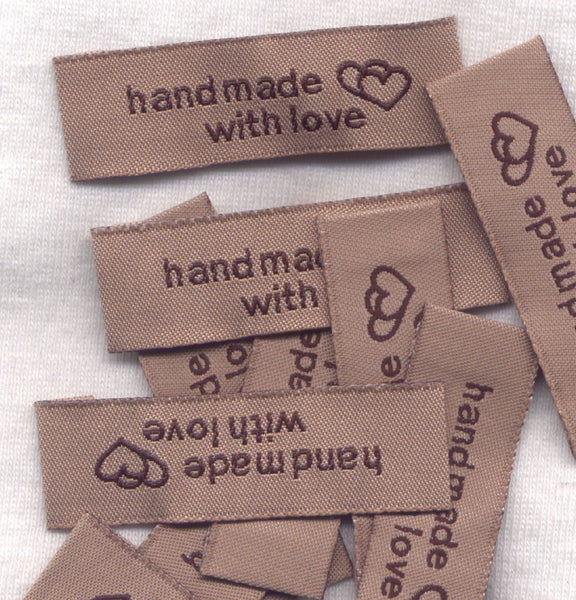Handmade With Love Labels Brown Woven Fabric 10/pkg