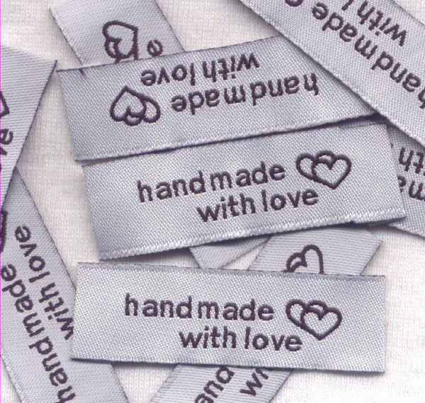 Handmade With Love Labels White Woven Fabric 10/pkg