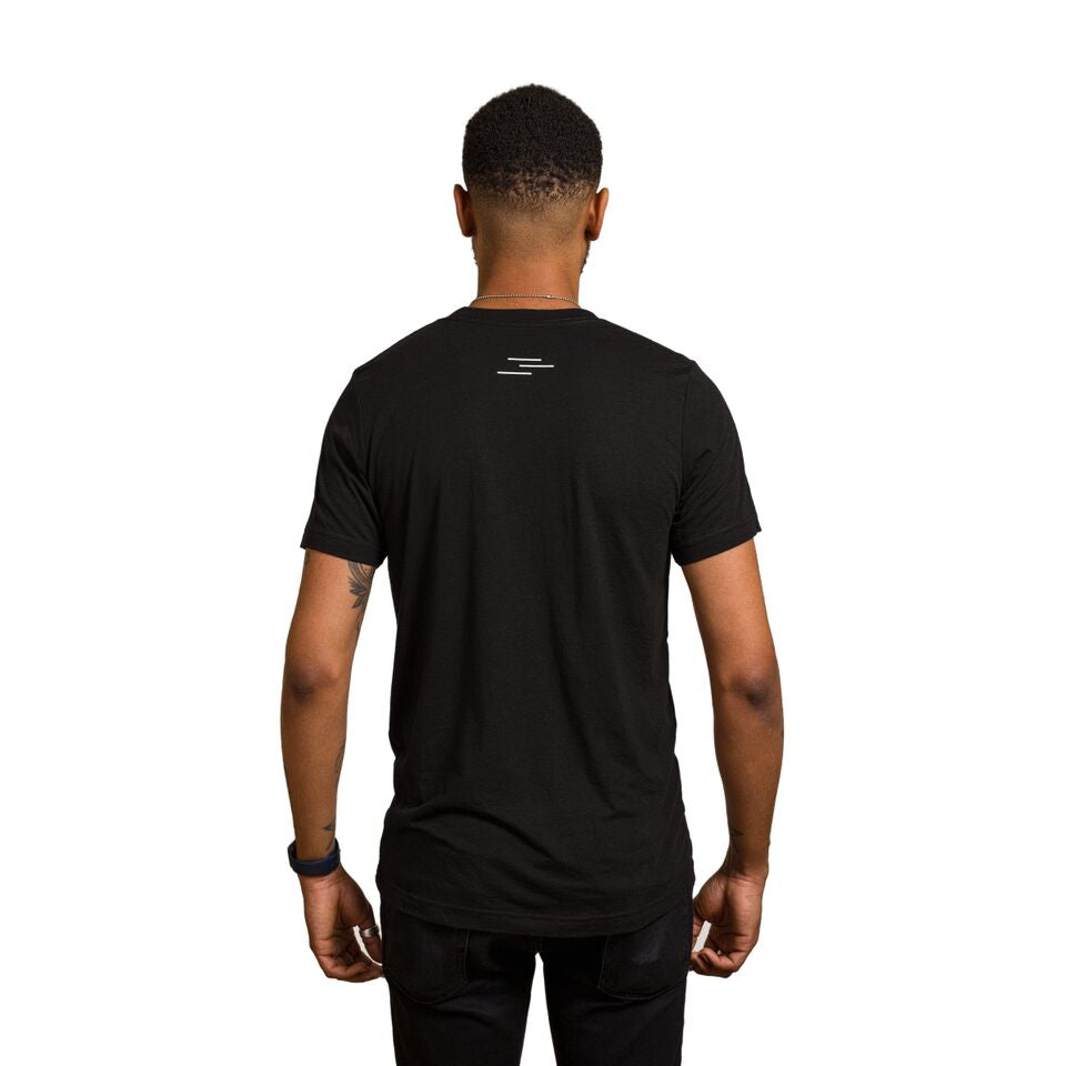 Back of a male wearing a black tee