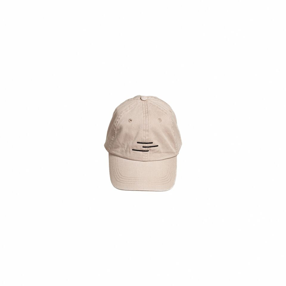 Khaki colored hat with the Line of Vision Brand logo. Three lines