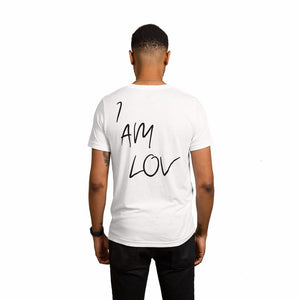White Shirt with I AM LOV written on the back