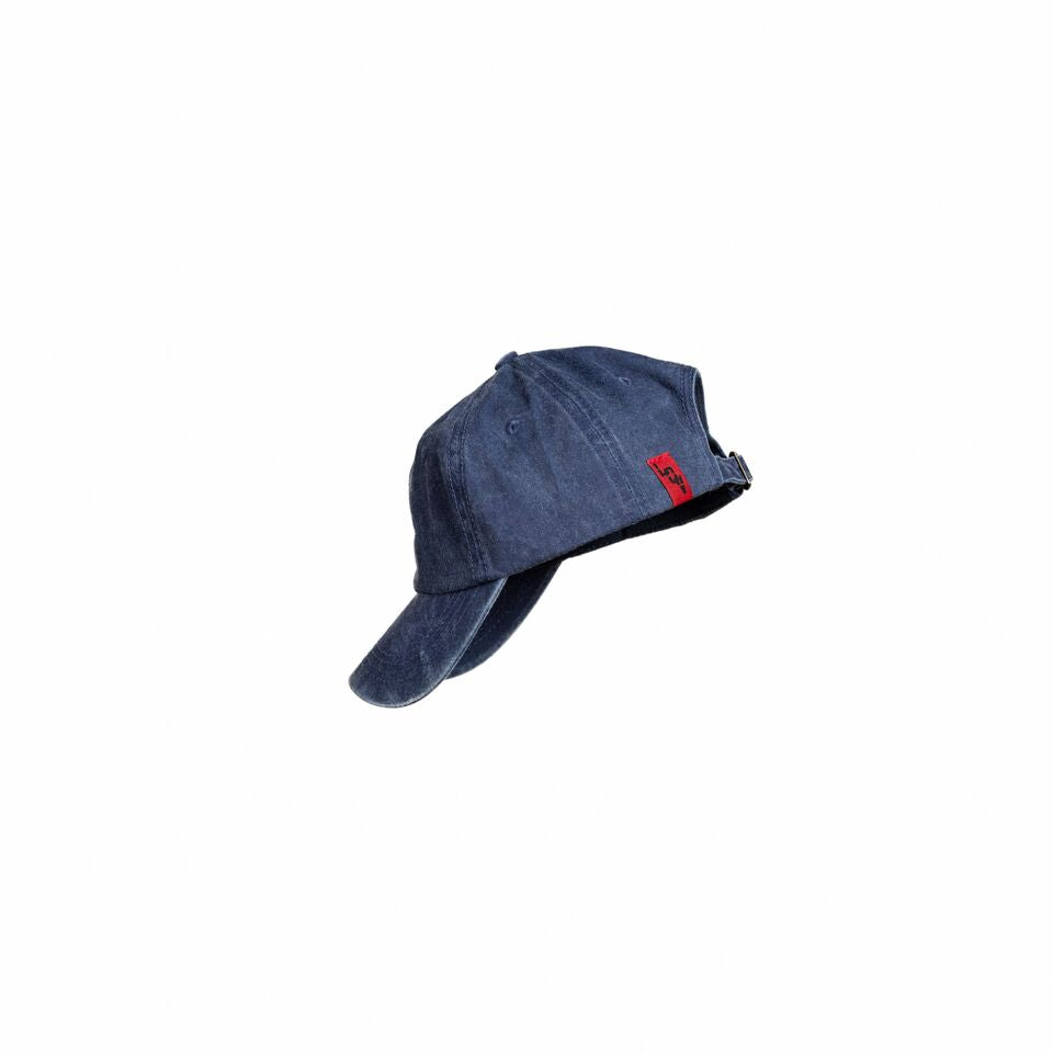 Side view of a vintage navy blue hat