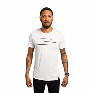 White Shirt with the Line of Vision logo. Three Lines