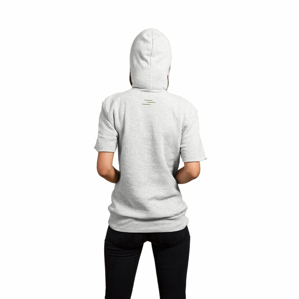 Back of an oatmeal colored cut-off hoodie
