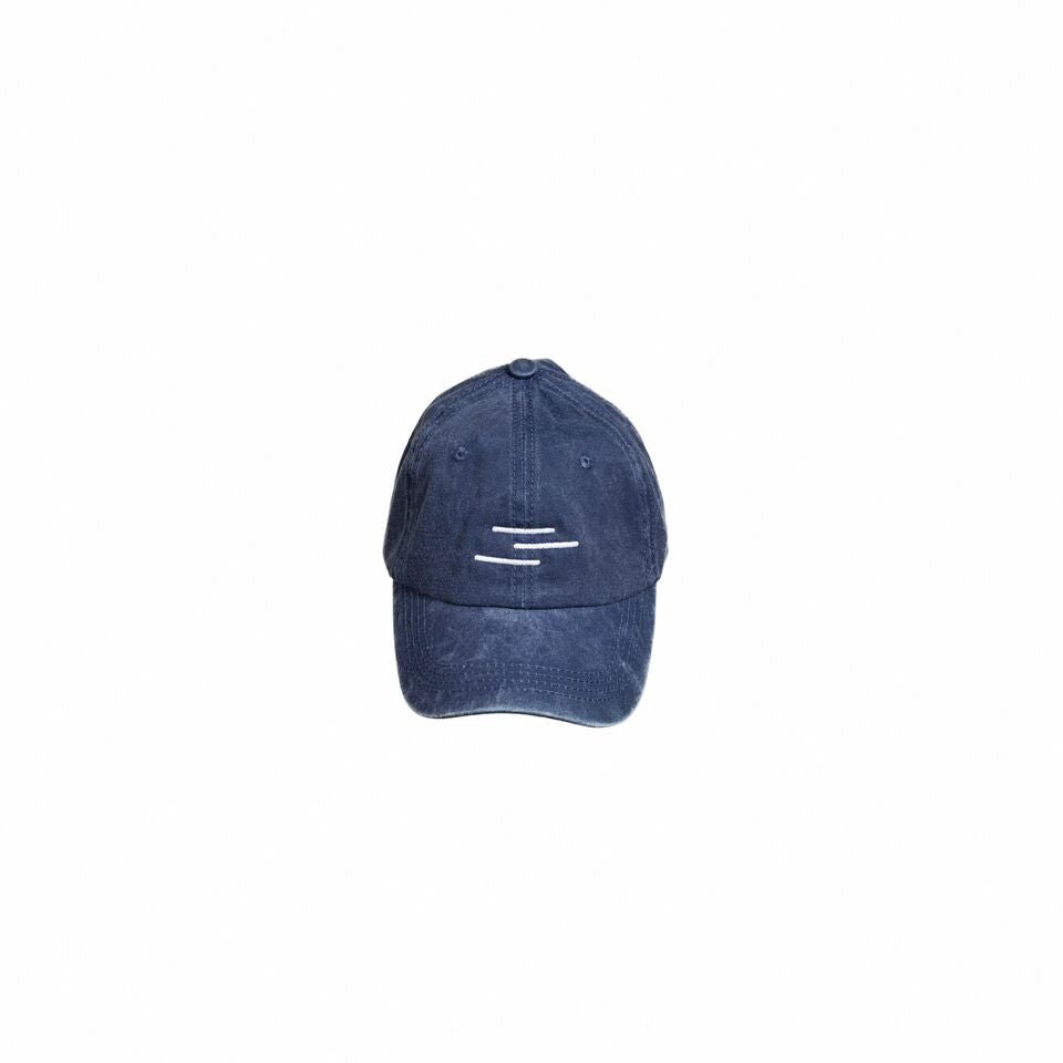Vintage navy blue hat with the Line of Vision logo. Three Lines