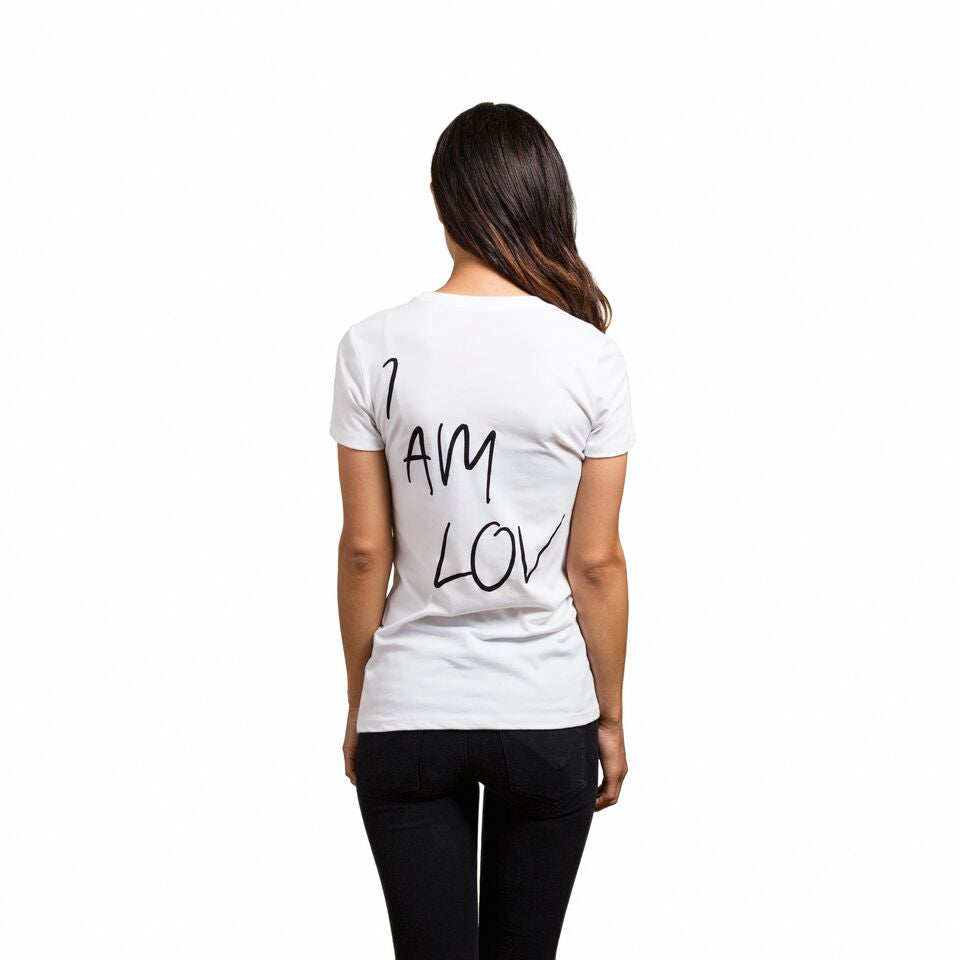 "White shirt with ""I AM LOV"" written on the back"