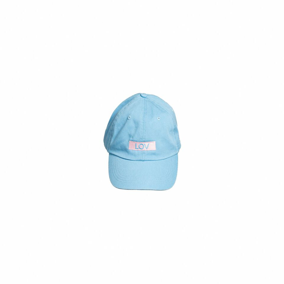 Powder blue hat with LOV on the front