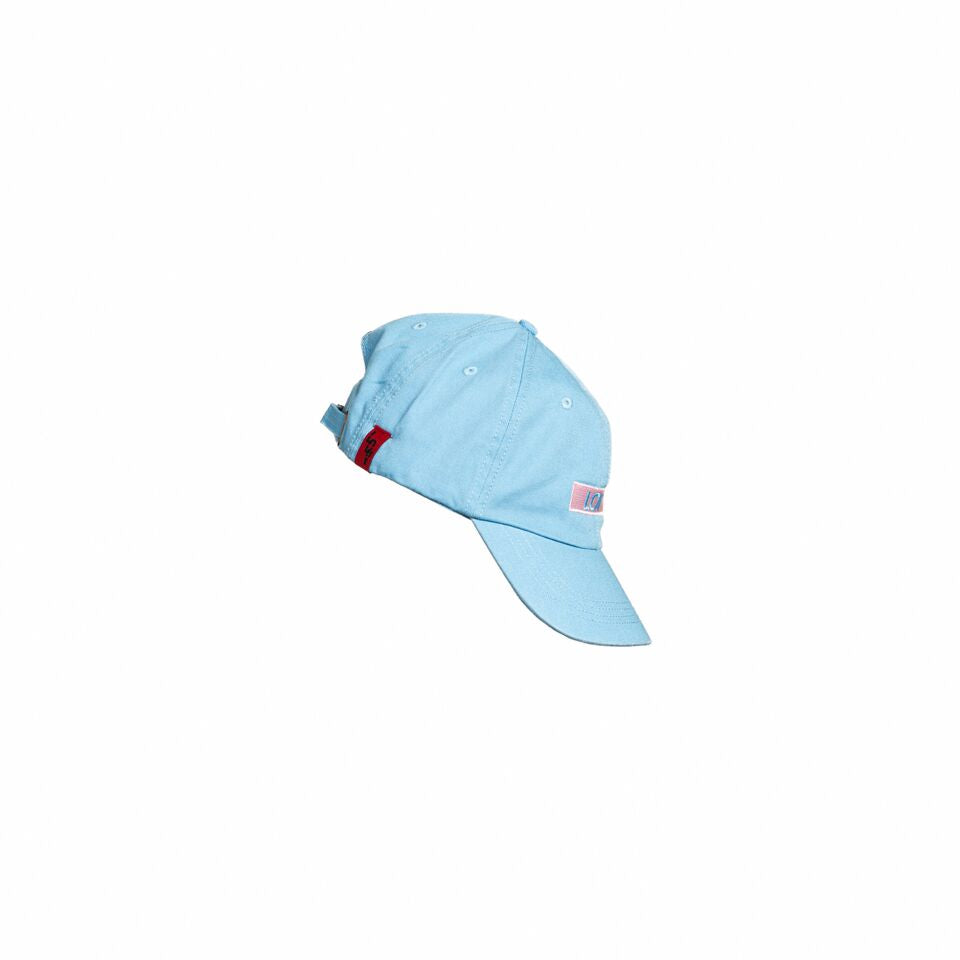 Side view of a powder blue hat